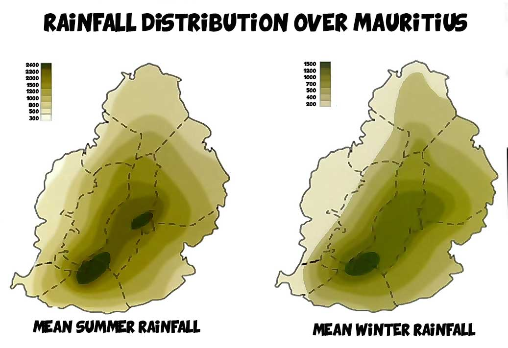 rainfall distribution over mauritius map